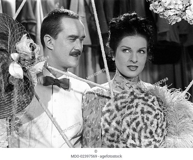 Italian actors Silvana Pampanini and Galeazzo Benti (Galeazzo Bentivoglio) acting in the film Half a Century of Song. 1954
