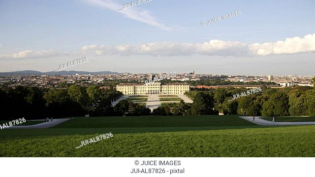 Areal View of Schonbrunn Palace and Vienna, seen from The small Gloriette at Palace Garden, Austria