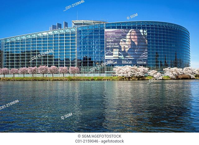 European Parliament with May 2014 European Elections poster Strasbourg Alsace France