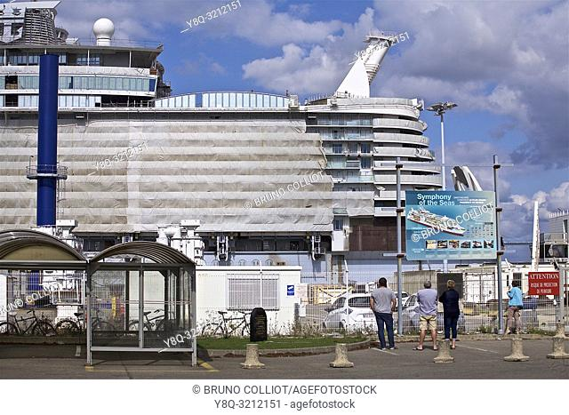 view of the shipyards of St Nazaire, Loire Atlantique, Brittany, France