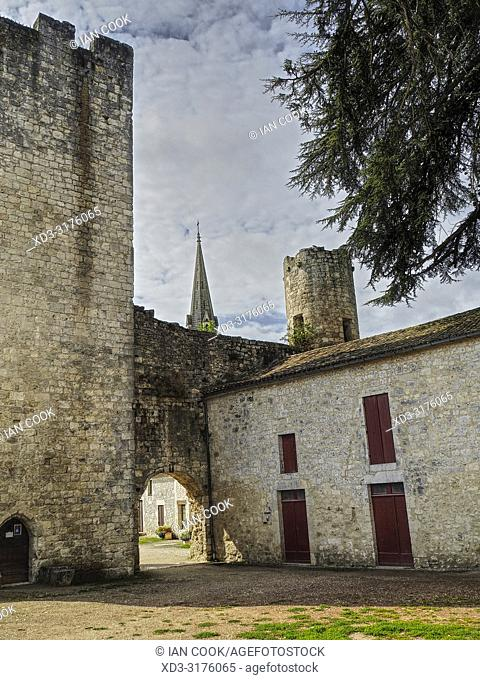 courtyard of chateau with Notre Dame Church, Eymet, Dordogne Department, Nouvelle Aquitaine, France