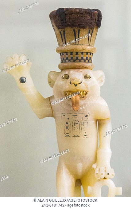 Egypt, Cairo, Egyptian Museum, Tutankhamon alabaster, from his tomb in Luxor : Vessel in the shape of a crowned lion, standing on a pedestal and holding the...