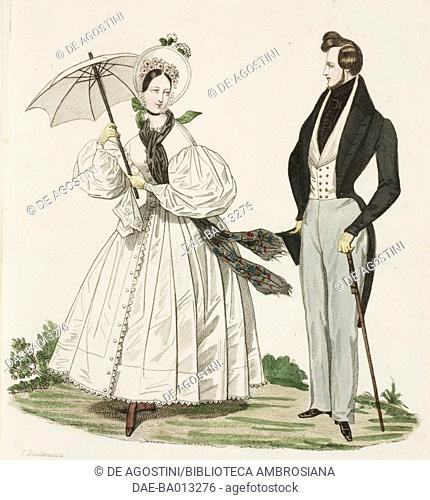 Female sketch in white dress, hat and parasol, male sketch in walking suit and stick, plate 38 taken from French Fashion