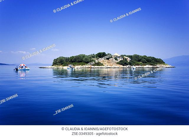 A small island with an abandoned monastery in the Pagasitic Gulf, Thessaly, Greece