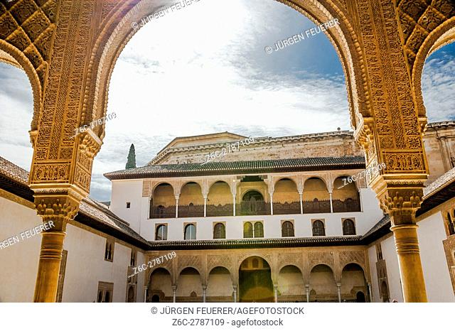 Patio de los Arrayanes, Innercourt of the Nasrid Palace, Alhambra in Granada, Andalusia, Spain