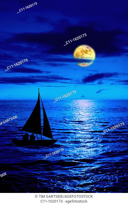 full moon over blue sea at night with sail boat