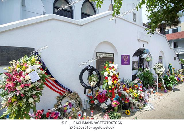 Famous Emanuel A. M. E. Church in Charleston South Carolina black church flowers and messages and signs left by people of the scene of horrible murder of 9...