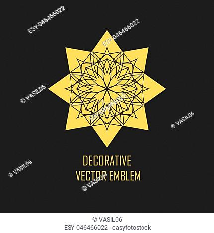 Circular geometric ornament on black background. Vector ornamental gold isolated figure, flower or religious emblem for your design
