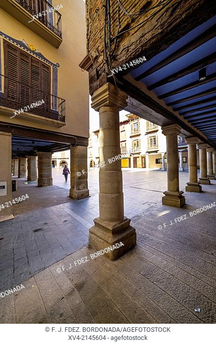 Main square of the town of Graus, a Mediaeval Village, Huesca, Aragón, Spain