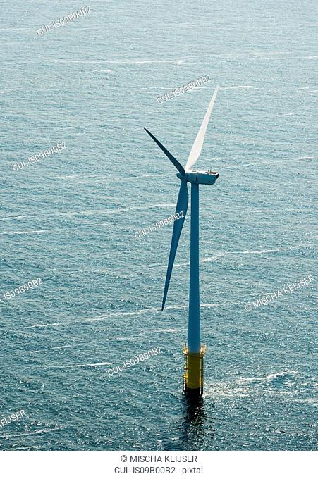 Aerial shot of an offshore wind farm off the Dutch coast, IJmuiden, North Holland, Netherlands