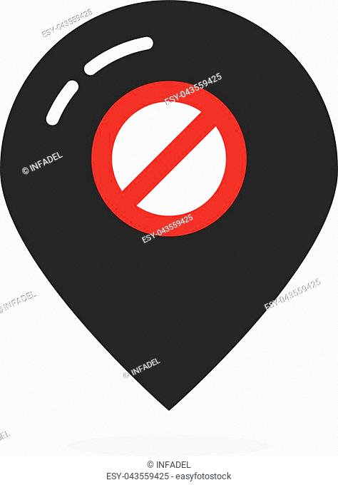 black map pin like offline. concept of false, alert, notice, travel, prevent, forbid, navigation, disconnection. flat style trend modern logotype design element...