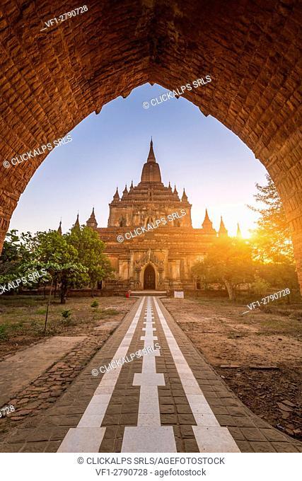 Bagan, Mandalay region, Myanmar (Burma). Sulamani pagoda entrance at sunrise