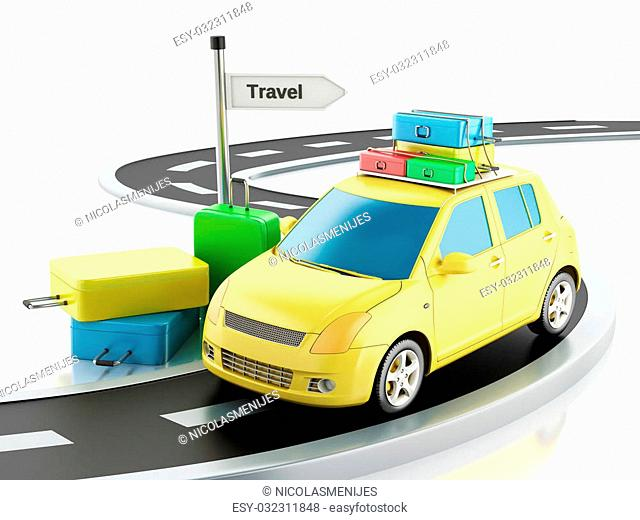 3d renderer image. Car with travel suitcases. Travel concept. Isolated white background