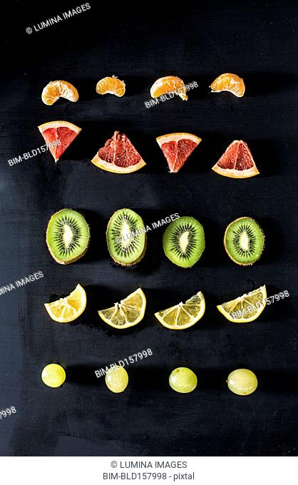Fruit slices arranged in rows