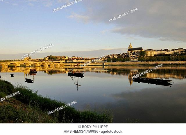 France, Loir et Cher, Loire Valley listed as World Heritage by UNESCO, Blois, Pont Jacques Gabriel, bridge over Loire river and in background