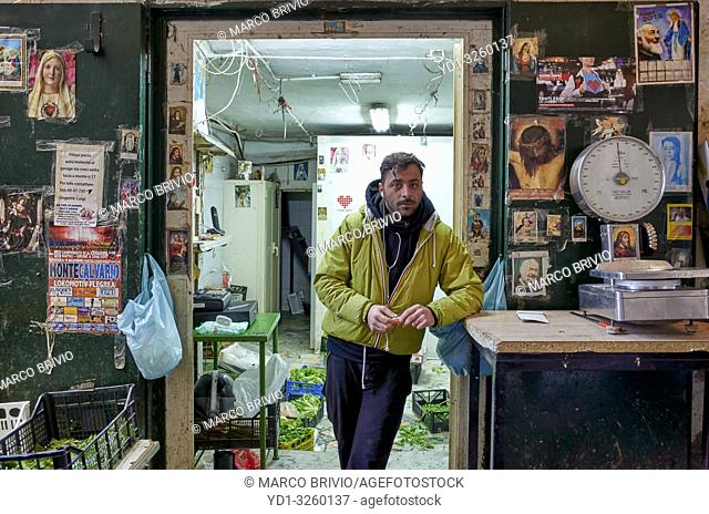Naples Campania Italy. The greengrocer at Quartieri Spagnoli(Spanish Quarters), a part of the city ofNaplesinItaly