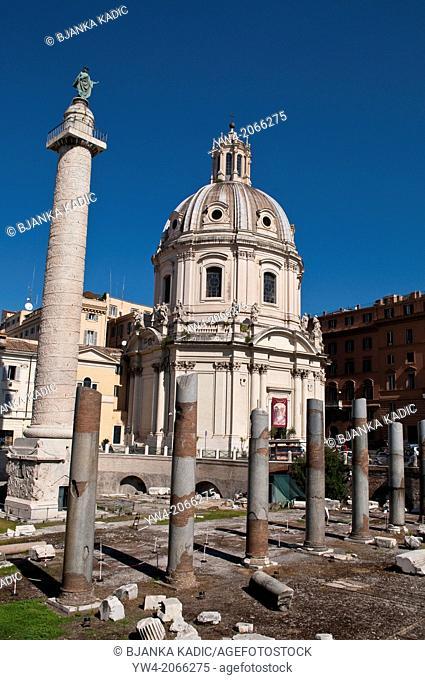 Trajan's Forum with Trajans Column and Santissimo Nome di Maria church, Rome, Italy