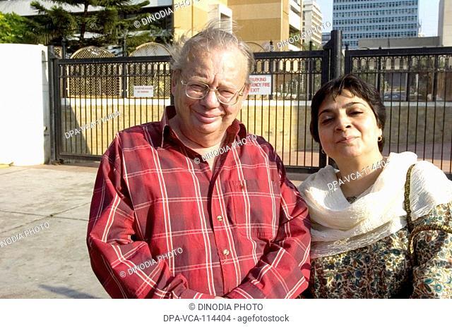 English Ruskin Bond  with journalist Indira Khanna  ; Bombay Mumbai ; Maharashtra ; India NO MR