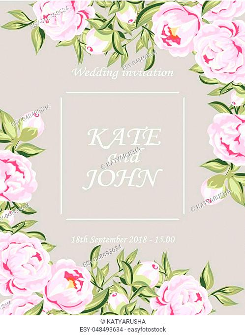 wedding invitation with lace and flowers vector illustration