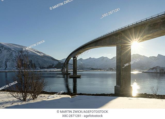 Bridge from Gimsoya to Austvagoya over Gimsoystraumen. The Lofoten islands in northern Norway during winter. Europe, Scandinavia, Norway, February