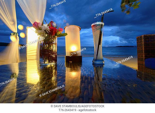 Romantic table by the sea on Koh Samui island, Thailand