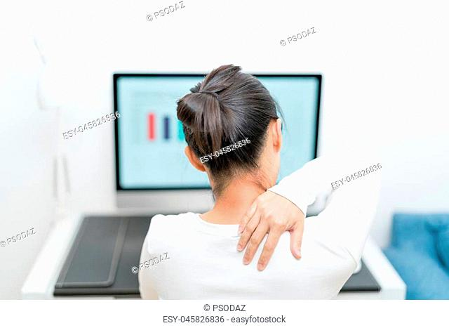 young women neck and shoulder pain injury with red highlights on pain area, healthcare and medical concept