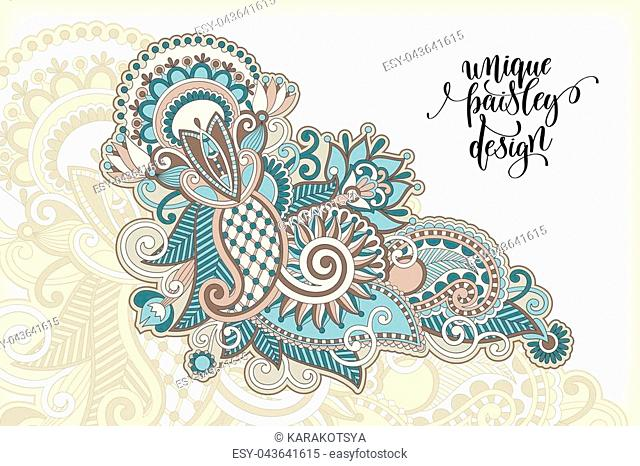 unique flower paisley design, hand drawing floral pattern in indian style, vector illustration