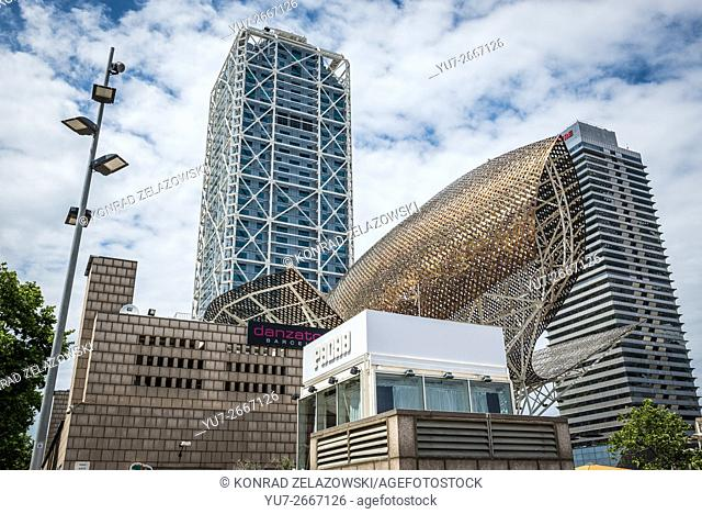 Hotel Arts, Torre Mapfre skyscraper and Fish sculpture designed by Frank Gehry in Barcelona, Spain