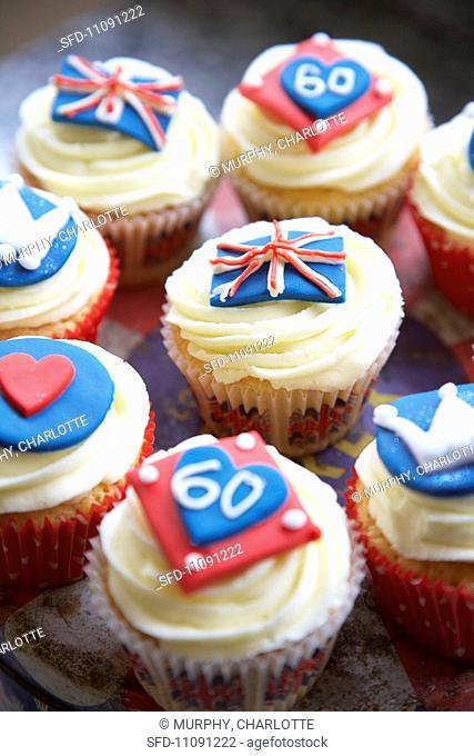 Various Jubilee cupcakes England