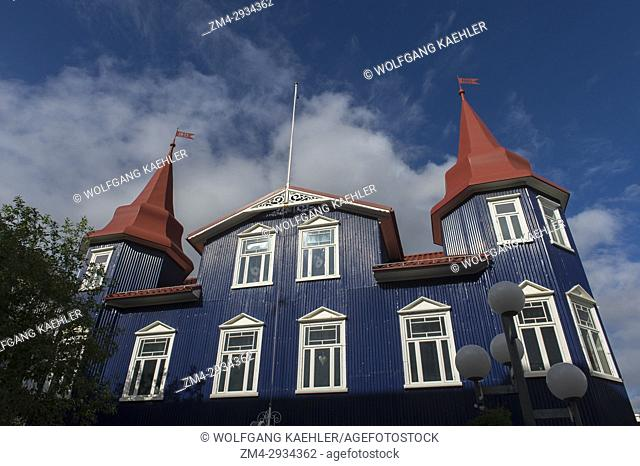 Street scene with local architecture in the city center of Akureyri, northern Iceland