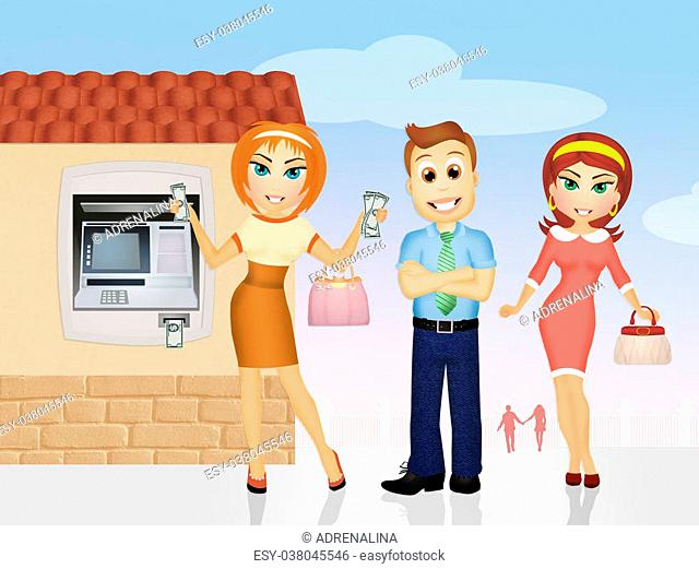 illustration of people that withdraw money at ATMs