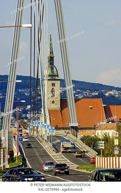 Bratislava, bridge Novi Most, coronation church, Slovak Republic