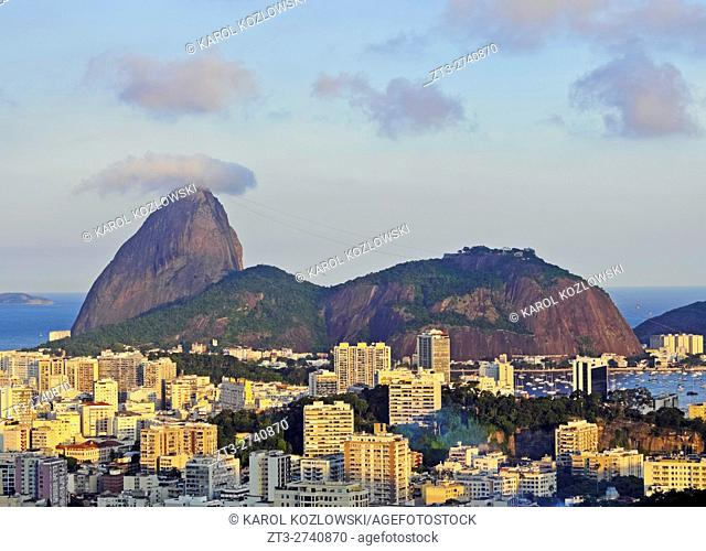 Brazil, City of Rio de Janeiro, Pereira da Silva, View over Laranjeiras towards the Sugarloaf Mountain