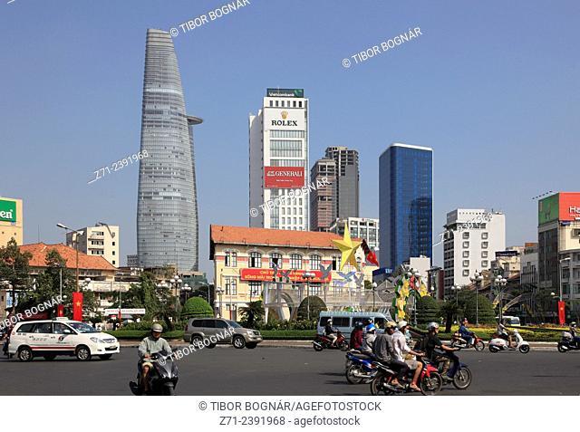 Vietnam, Ho Chi Minh City, Saigon, District 1, street scene, skyline,