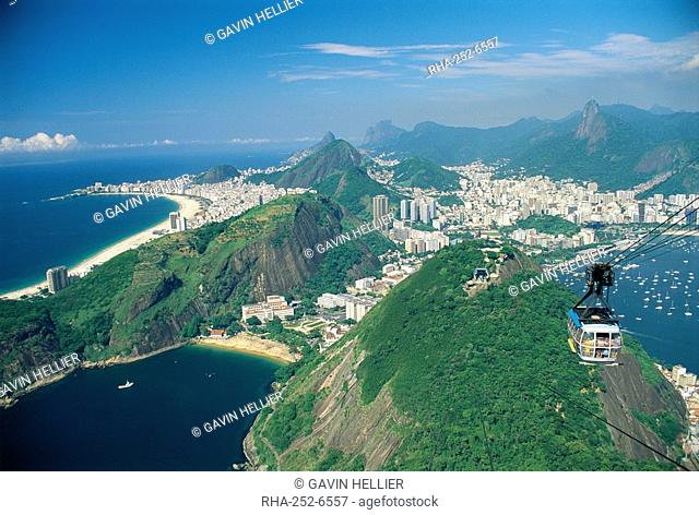 Aerial view of Rio and the Copacabana beach from Sugar Loaf, in Rio de Janeiro, Brazil, South America