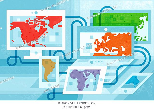 Continents of the world on screens connected by cables