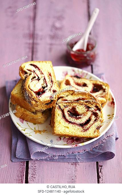 Cake with fruit jam
