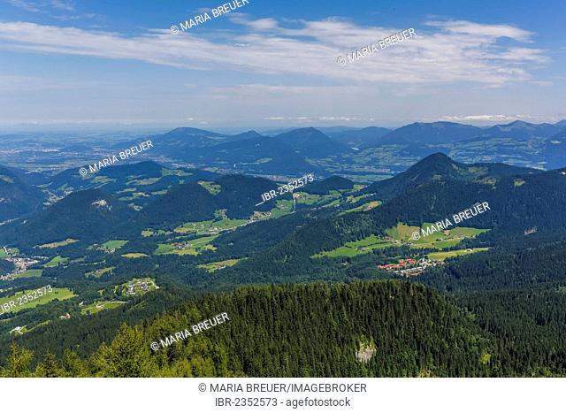 View from Kehlsteinhaus or Eagle's Nest towards the Alps, middle rear, Geisberg Mountain, 1288 m, Gurlspitze Mountain, 1158 m, Schwarzenberg Mountain, 1334 m