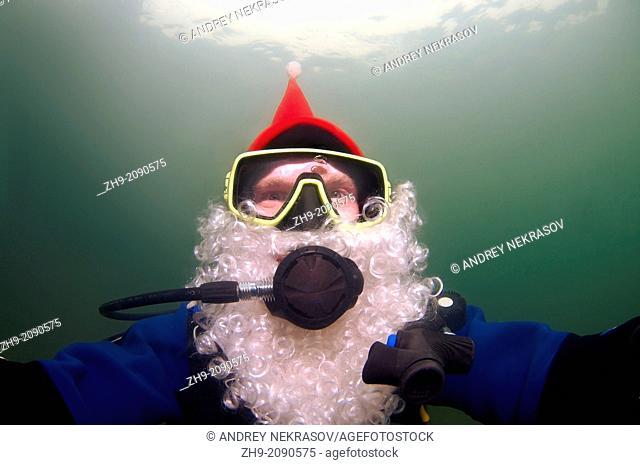 underwater Santa Claus, Odessa, Ukraine