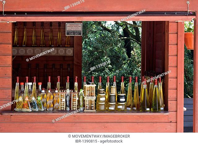 Stall with wine and olive oil, Lim Fjord, Istria, Croatia, Europe