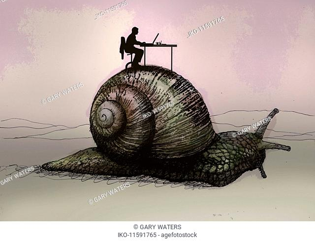 Slow office worker sitting on top of snail