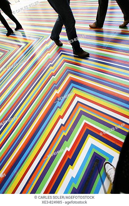 Coloured floor in the MOMA, New York City, USA