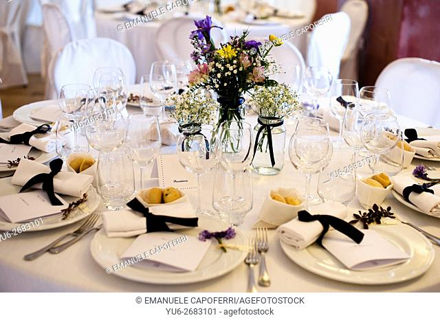 Decorated tables for wedding dinner