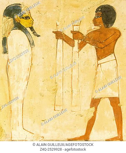 """UNESCO World Heritage, Thebes in Egypt, Valley of the Nobles, tomb of Menna. A part of the scene of """"""""Opening the Mouth"""""""" : Presenting linens"""