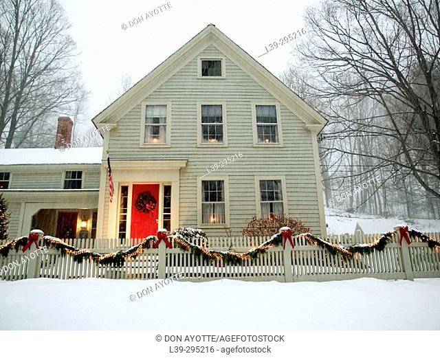 House with Christmas decorations. Conway, Massachusetts. USA