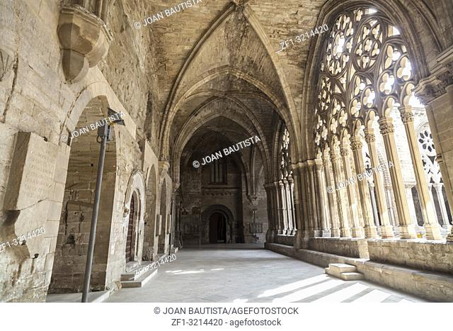 Old Cathedral, interior cloister,Catedral de Santa Maria de la Seu Vella, gothic style, iconic monument in the city of Lleida, Catalonia. Spain