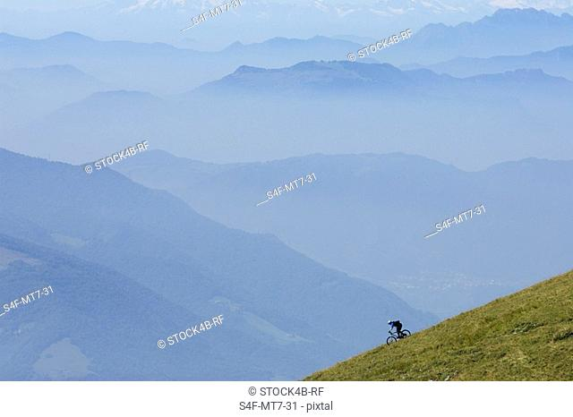 Bicyclist driving down a hill