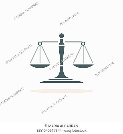 Scales of justice icon with shadow on beige background