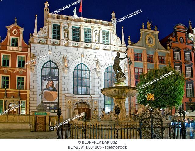 Neptune's Fountain. Gdansk, Pomeranian Voivodeship, Poland