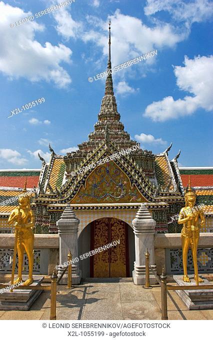 One of richly decorated buildings in Wat Phra Kaeo  Bangkok, Thailand